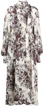 Paco Rabanne Floral Long-Sleeve Midi Dress