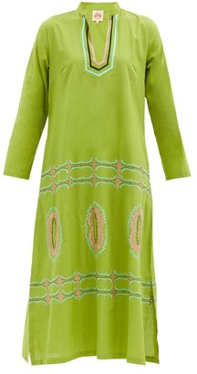 Le Sirenuse, Positano - Malika Bubble Gum-embroidered Cotton Tunic Dress - Green Print