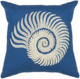 Kas Spiral Seashell Square Throw Pillow in Blue
