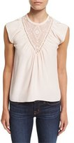 Rebecca Taylor Sleeveless Silk Southwestern Top, Pale Blush