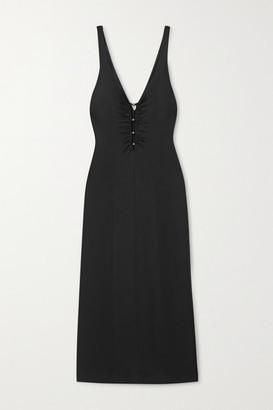 Galvan Siren Bead-embellished Stretch-jersey Midi Dress - Black