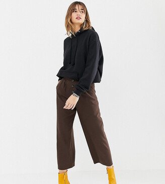 Stradivarius high waisted wide leg trouser with button detailing-Brown