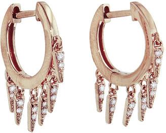 Sydney Evan Pave Diamond Fringe Drop Hoop Earrings - Rose Gold