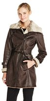 Andrew Marc Women's Brave Heart Belted Faux Shearling Coat