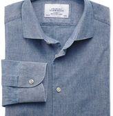 Charles Tyrwhitt Classic fit semi-cutaway collar business casual chambray mid blue shirt