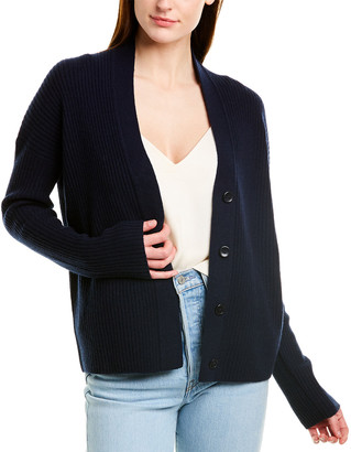 Vince Ribbed Wool & Cashmere-Blend Cardigan