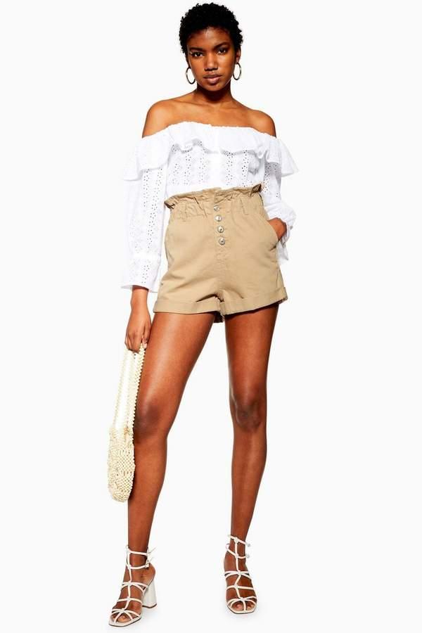 Topshop Sand Paperbag Denim Shorts