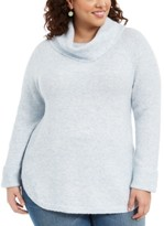 Style&Co. Style & Co Plus Size Waffle-Knit-Trim Cowlneck Sweater, Created For Macy's