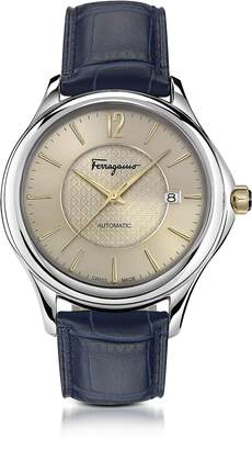 Salvatore Ferragamo Time Silver Stainless Steel Men's Automatic Watch w/Blue Croco Embossed Strap