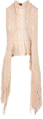 Lvs Collections LVS Collections Women's Sweater Vests CORAL - Coral Sidetail Sheer Open Vest - Women