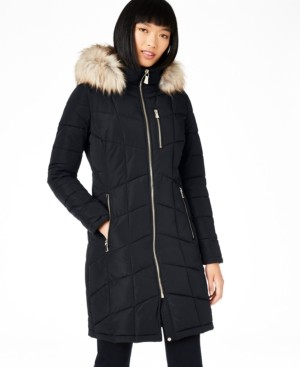 Calvin Klein Petite Faux-Fur-Trim Hooded Puffer Coat, Created for Macy's