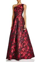 Carmen Marc Valvo One-Shoulder Printed Gown