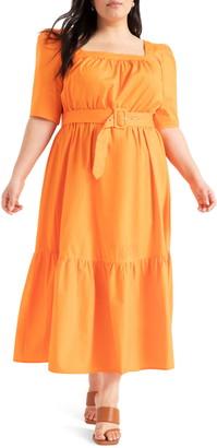 ELOQUII Belted Stretch Poplin Dress