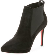 Christian Louboutin Crochinetta Suede Red Sole Bootie
