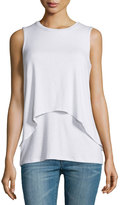 philosophy Round-Neck Double-Layer High-Low Tank Top, Bleach White