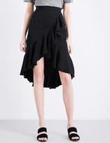 Sandro Ruffled asymmetric twill skirt