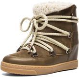 Nowles Shearling & Calfskin Leather Boots in Khaki
