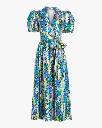 Badgley Mischka Puffy-Sleeve Midi Dress