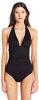 Shoshanna Women's Soft Black Ruched Halter One-Piece Swimsuit