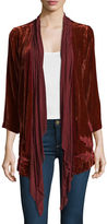 Johnny Was Bellina Velvet Embroidered-Back Handkerchief Cardigan, Plus Size