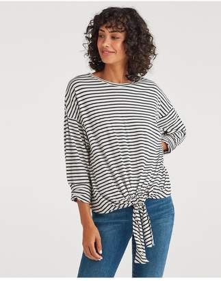 7 For All Mankind Feather Weight Jersey Long Sleeve Tunnel Front Tee In Dark Indigo Oatmeal