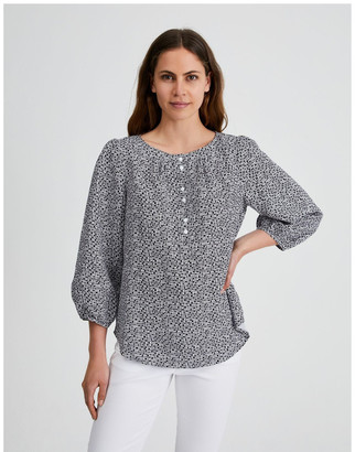 Regatta 3/4 Puff Sleeve Placket Front Top