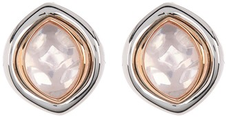 Breuning Sterling Silver Oval Rose Quartz Stud Earrings