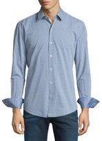 HUGO BOSS Dobby-Plaid Long-Sleeve Sport Shirt, Navy
