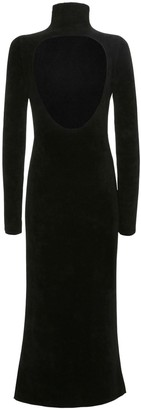 Jil Sander Turtleneck Velour Dress W/back Cut Out