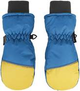 ANDORRA Boys Color Block Weather-Proof Thinsulate Snow Ski Mittens, Long Snow Cuff,S,BlackBlue