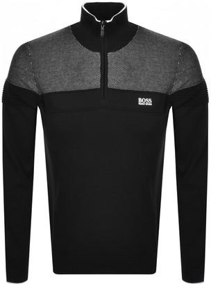 Boss Athleisure BOSS Zakop Half Zip Knitted Jumper Black