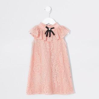 River Island Mini girls Pink bow sleeveless trapeze dress