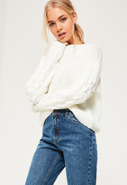 Missguided White Funnel Neck Cable Sleeve Sweater