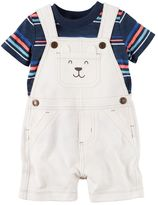 Carter's Baby Boy Striped Tee & Embroidered Shortalls Set