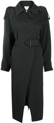 Bottega Veneta Triangular Buckle Belted Trench Coat