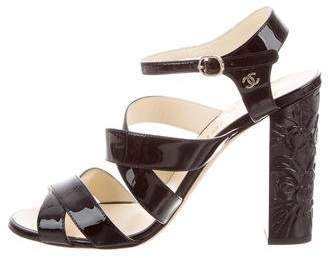 Chanel 2016 CC Patent Leather Sandals