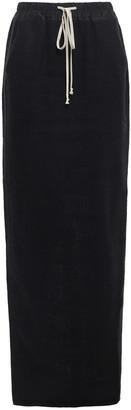 Rick Owens Pillar Split-back Brushed Camel And Linen-blend Maxi Skirt