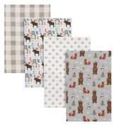 Trend Lab 4-Pack Scandi Cocoa Flannel Receiving Blankets in Grey