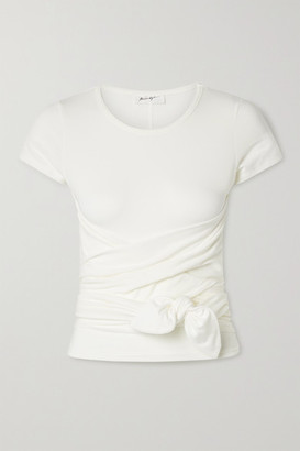 The Line By K Jeanne Knotted Stretch-cotton Jersey T-shirt - White