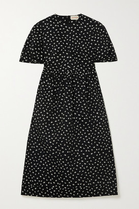 &Daughter Dawn Embroidered Cotton-gabardine Midi Dress - Black