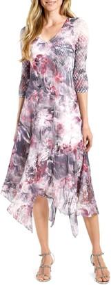 Komarov Handkerchief Hem Chiffon Midi Dress