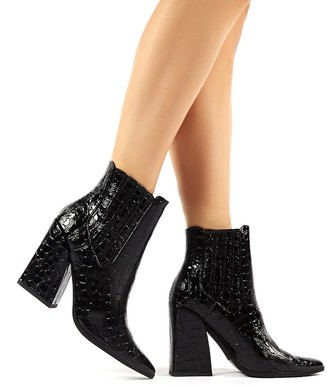 Public Desire Uk Brianna Patent Croc Block Heeled Pointed Ankle Boots
