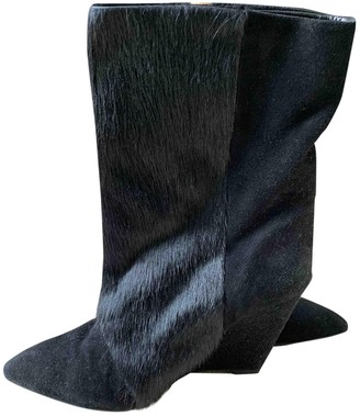 Isabel Marant Lamsy Black Faux fur Boots