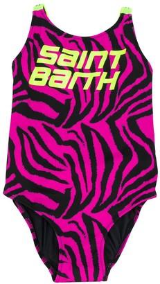 Mc2 Saint Barth Kids Martin zebra-print swimsuit