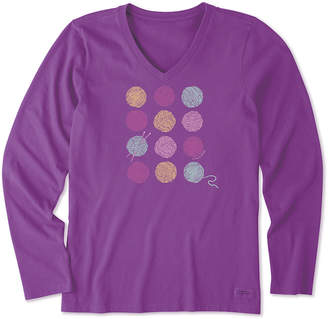 Life is Good Women's Tee Shirts Happy - Happy Plum Knitting is Good Crusher Long-Sleeve Tee - Women & Plus