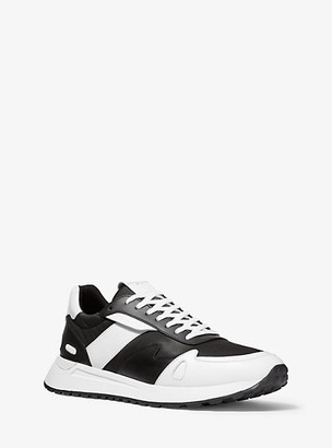 Michael Kors Miles Leather and Nylon Trainer - White/black