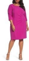 Tahari Plus Size Women's Ruched Sheath Dress