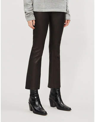 J Brand Mid-rise cropped leather boot-cut trousers