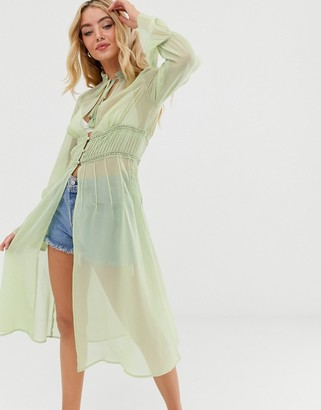 Asos Design DESIGN long sleeve sheer longline kimono with lace insert-Green
