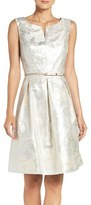 Ellen Tracy Women's Belted Metallic Jacquard Fit & Flare Dress